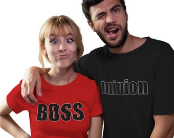 Minion shirt, Minion T-Shirt, Funny tshirt, Minion match to Boss shirt. Fits guys and gals.