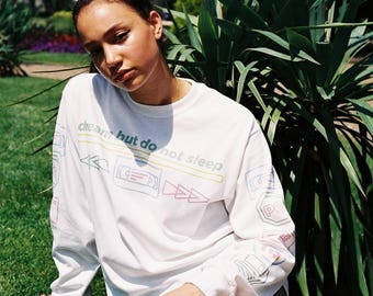 White Long Sleeved T-shirt With 80's VHS Design 2006