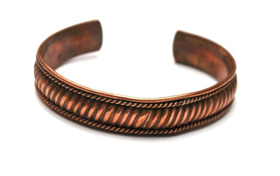 Copper Cuff Bracelet  - Ribbed Textured - Made in India - copper bangle boho gift for her