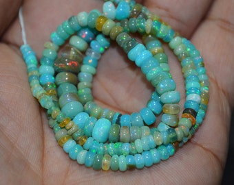 AAA Quality Multi Aqua Ethiopian opal Smooth Beads ,3 to 6 mm Approx. , 15 inch Strand