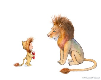 Lion Story - Boy and Lion - Art Print