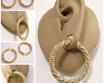 Monet Twisted Bead Hoops Pierced Stud Earrings Gold Tone Vintage Extra Large Round Textured Band Surgical Steel Post Snap Bar