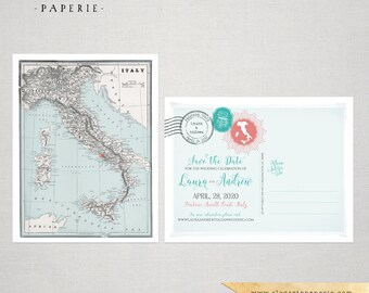 Italy Destination Wedding Save the Date postcard Destination wedding invitation vintage map - DEPOSIT PAYMENT