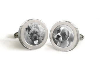 Your Pet's Photo Cufflinks for Him - Mod Dog Custom Cuff Links with Your Dog or Cats Picture