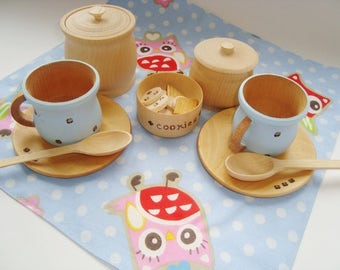 Teatime set. Wooden play kitchen set. Wooden toys.