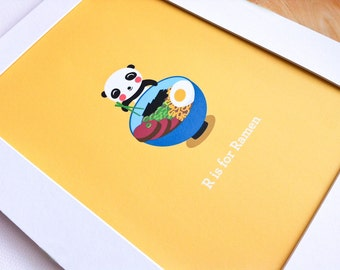 Panda Loves Ramen Print - Children's Room Decor - Have You Eaten Series
