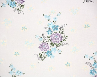 1950s Vintage Wallpaper by the Yard - Floral Wallpaper with Lavender and Blue Flowers on White