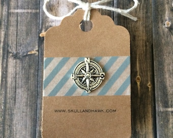 Compass Lapel Pin / Tie Tack - Silver Tone - Tack Backing with Clutch Clasp - Pirate Costume Accessory