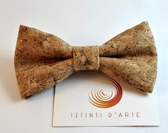 Handmade bow tie made up of golden cork fabric