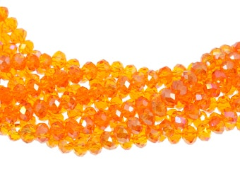 "6x4mm Transparent Tangerine Orange AB Crystal Rondells - Full 16"" Strand - About 86 Beads"