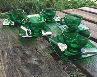 Vintage Green Glass Cups and Plates, Saucers