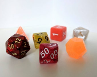 Polyhedral RPG Dice Set -- Immolation -- Dungeons and Dragons, Pathfinder, RPG dice set with free dice bag