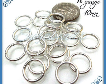75 Strong Silver Plated Open Jump Rings 10mm 16 Gauge JRSP5