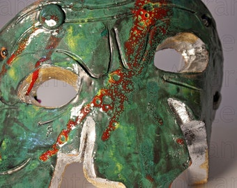 Màskes-Pulcinella Mask glazed ceramic Raku style
