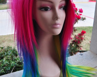 Scene Straight Layered Wig in Rainbow