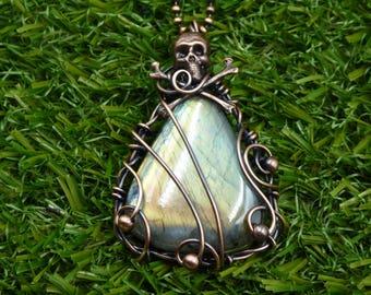 Skull Gemstone Pendant,  Skull Jewelry, Gothic Pendant, Steampunk Skull Necklace, Labradorite Pendant, Skulls