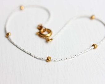White Chain Bracelet, Delicate Chain Bracelet, Enamel Chain Bracelet, Thin Beaded Bracelet, Gold Beaded Bracelet, Stacking Gold Bracelet
