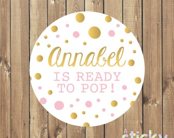 Personalized Ready to Pop Stickers, Baby Shower Stickers, Ready to Pop Labels, Baby Shower Favors, Ready to Pop, Baby Shower, Popcorn Favour