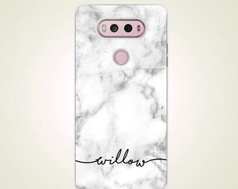 Custom Name White Classic Marble LG Case Personalized case G2 G3 G4 G5 case G6 case Nexus 5 case Nexus 5X case V10 case V20 V30 V30 plus