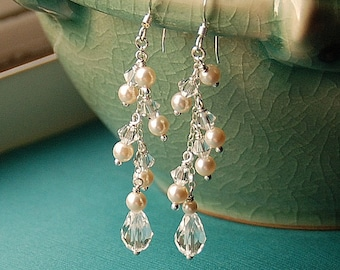 Long Dangle Bridal Earring, Pearl Earring for Wedding or Bridesmaid, Swarovski Pearls & Crystal, Sterling Silver, The Falling Tear Earrings