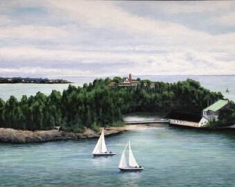 Island and Sailboats painting