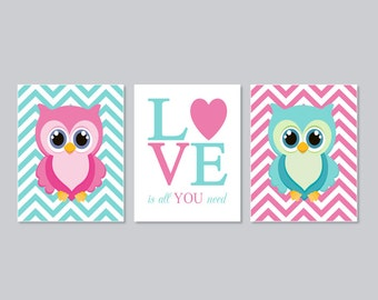Owl Nursery Wall Art, Prints Or Canvas, Girl Nursery Decor, Pink Nursery, Love Is All You Need, Nursery Pictures, Chevron, Set of 3