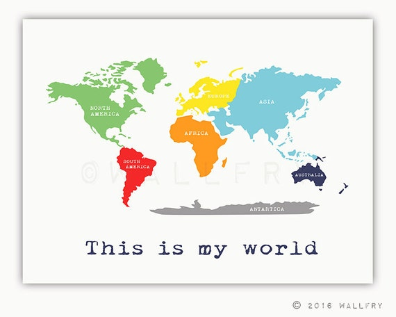 Kids wall art world map print with continents childrens wall gumiabroncs Image collections