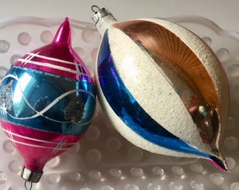 Set of two vintage Mercury glass ornaments in pink, blue and gold