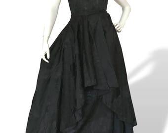 Vintage 1950s Black Leafy Satin Damask Couture 2 Piece Gown Dress