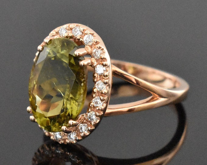 14K Rose Gold Green Tourmaline and Diamond Ring | Engagement Ring | Wedding Ring | Anniversary Ring | Diamond Halo | Handmade Fine Jewelry
