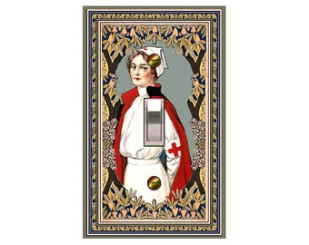 choose sizes / prices from drop down box1512A - Vintage Red Cross Nurse - mrs butler switch plate covers - - mix/match with 1512b