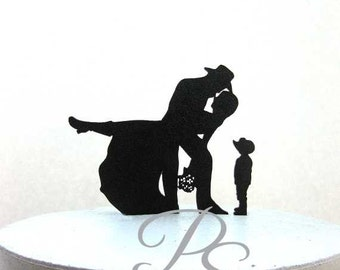 Wedding Cake Topper - Country & Western Wedding with a little cowboy