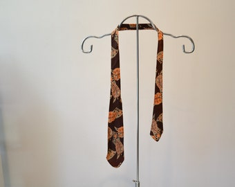 Vintage 1950s Rayon Satin Unlined Tie. Short! Brown with Peach and White Abstract Leaves. As Is