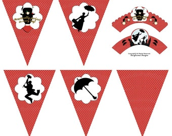Mary Poppins & Chimney Sweep Cupcake Wrappers-5pc Matching Pennant Party Banner-Baby Shower Decorations - Instant Download-Party Decorations