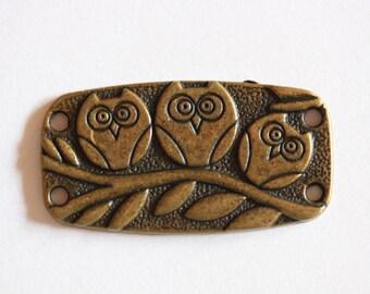 Bronze metal OWL rectangle charm