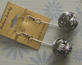 Large metal ball dangle earrings silver