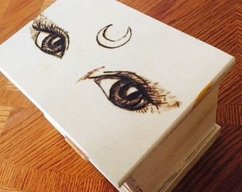 Third eye moon custom wood burned box