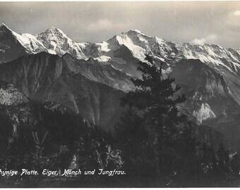 Schynige Platte.  Eiger, Monch u. Jungfrau, Switzerland - 1930's Unused Real Photo Postcard