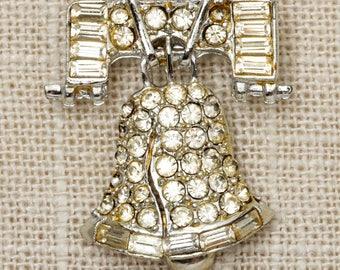 Rhinestone Liberty Bell Brooch Vintage Silver Broach Vtg Pin 7P