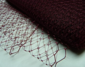 "9"" birdcage veil, burgundy Russian veil, French veil, millinery veil, burgundy veiling, millinery supplies, netting,  DIY"