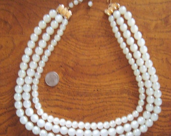 Vintage Moonglow White Beads 3 Multi Strand Statement Necklace