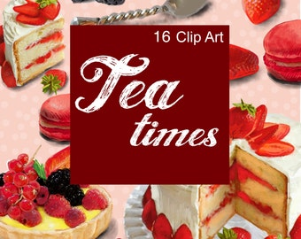 Digital clipart Tea Times French pastry