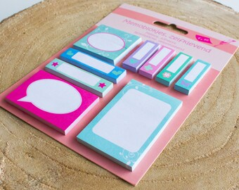sticky notes, pink and mint page plags, bookmarks, for planning, scrapbooking, in your jounal, hobonichi, filofax, happy planner, ECLP