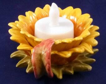 Vintage Sunflower Tealight or Candle Holder, 1990s