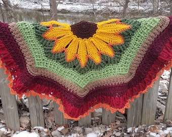 Boho Sunflower, Circular Afghan, Sunflower Blanket, Sunflower Throw, Sunflower Baby Blanket, Housewarming, Graduation Gift, Mother's Day