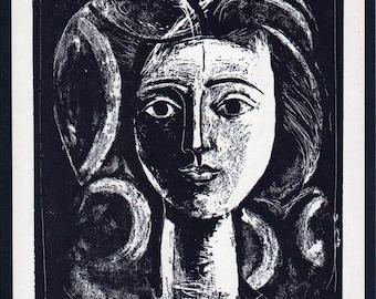 PABLO PICASSO 1956 Lithograph +COA after Tête de jeune fille, 1947 Picasso Art Print. Unique Gift Idea of Very Rare Art. Exclusive Present