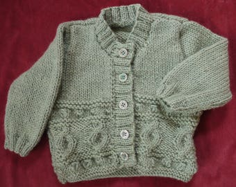 Hand knitted baby Cable Pattern Cardigan