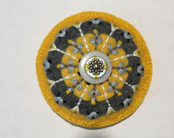 Felt Circle Brooch in Yellow and Gray