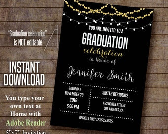 Graduation Invitation, Graduation party invite, instant download self editable PDF file A490