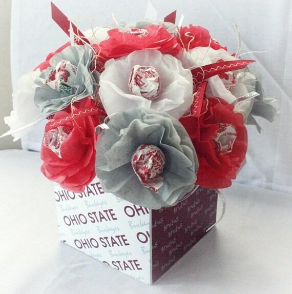 Tissue Paper Flowers Lollipop Sucker Ohio State Buckeyes